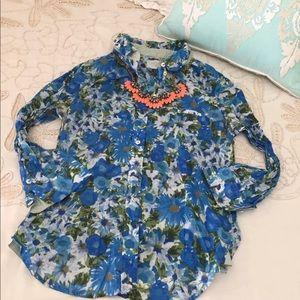 Anthropologie HD Paris floral button down blouse
